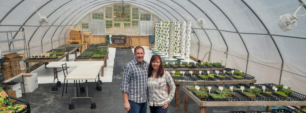 Clint and Sheree in new greeenhouse April 2018